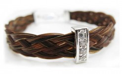 Horse Hair bracelet with silver & crystals