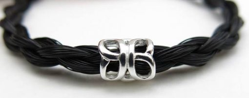 black horse hair bracelet with silver butterfly charm