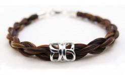 Horse Hair bracelet in chestnut silver charm