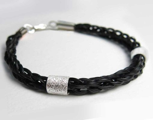 Solace horse hair bracelet double silver bead