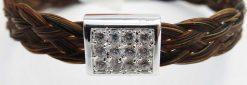Gemosi Harmony horse hair bracelet silver sparkle cube