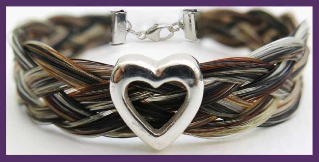 Gemosi Harmony Horse Hair Bracelet with silver heart